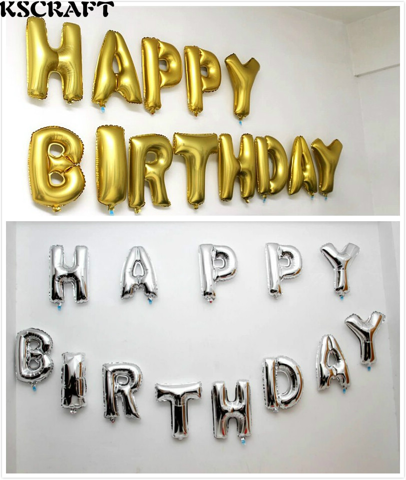 KSCRAFT BB040 Gold/Sliver HAPPY BIRTHDAY Balloons for Decorative Foil Balloon fo