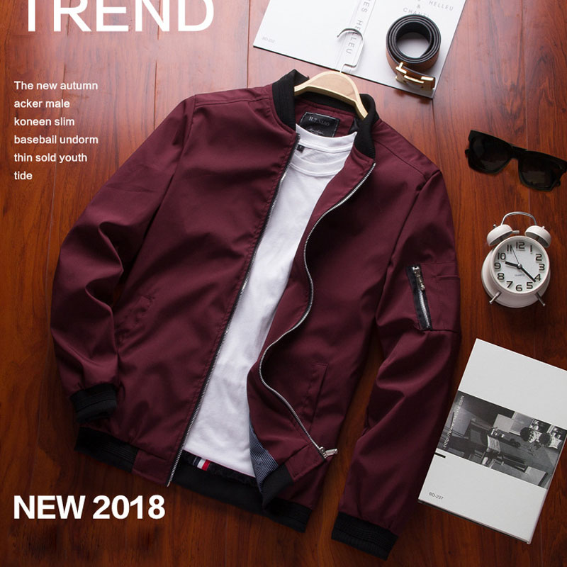 trench   coat men 2019 mens coats Spring and Autumn Thin wind breaker Casual Men's Baseball Wear Men's Leather Youth Black