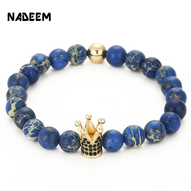 NADEEM Newest Women Men's Natural 8MM Blue Regalite Stone Bead Micro Pave Black CZ Gold Color King Crown Charm Bracelet Jewelry