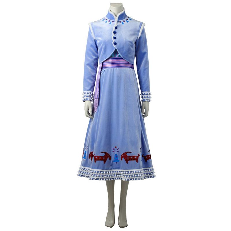 Olaf's Adventure Snow Queen Anna Cosplay Costumes Sky Blue Party Dress Coat Outfit Halloween Party Women Festival Dress New Year