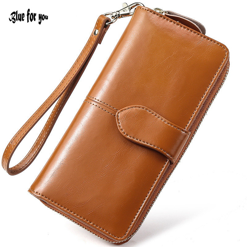 Hot Sale Women Clutch 2017 New Wallet Oil wax Leather Wallet Female Long Wallet Women Zipper Purse Strap Coin Purse For iPhone 7 dollar price new european and american ultra thin leather purse large zip clutch oil wax leather wallet portefeuille femme cuir