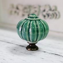 Dia 34mm Rustico Ceramic Knobs Pumpkin Drawer Cabinet Knobs Pulls Dark Green  Dresser Door Handles(