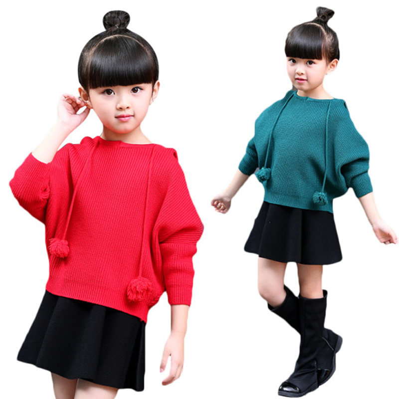 0d823409e57 Long Sleeved Knitted Sweater Pullover Sweaters For Girls Solid Costume Casual  Princess Children Jumpers Outwear Clothes on Aliexpress.com