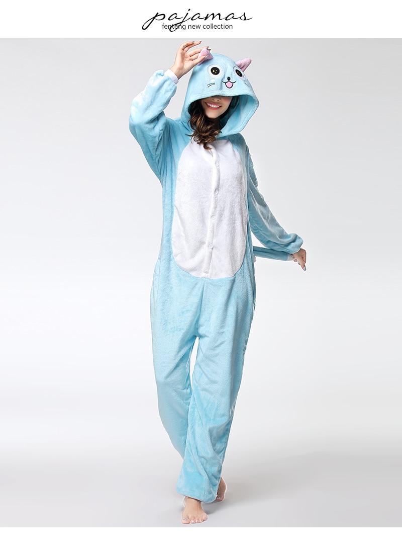 RONGTAI Wholesale Adult Onesie Pajama Women Pajamas Adults Cosplay Cartoon  Animal Onesies Sleepwear Flannel Christmas Blue CAT cd40db928