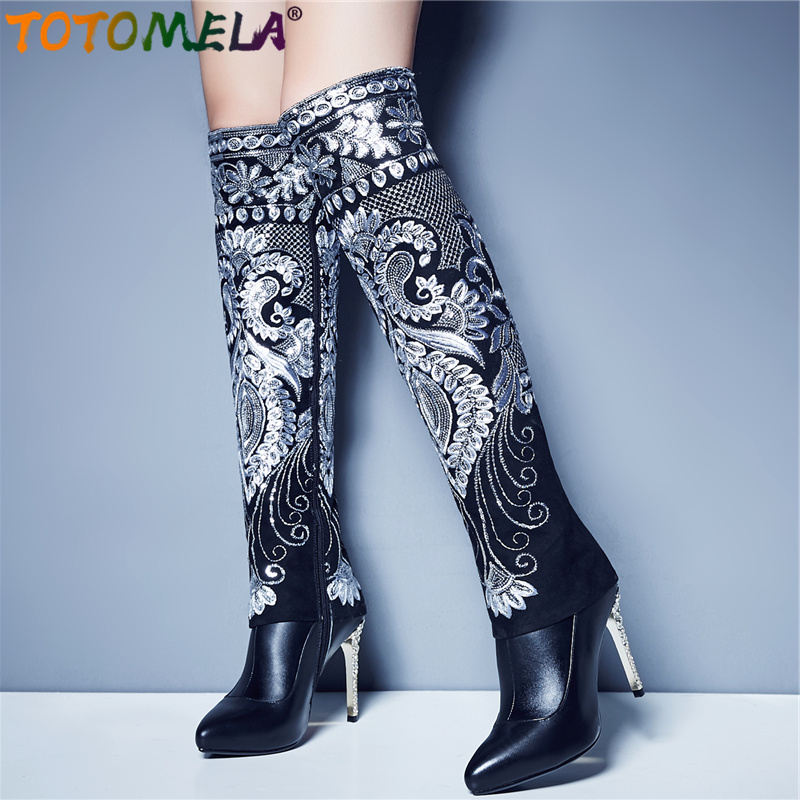 TOTOMELA 2019 Women boots bling flock genuine leather boots zip stiletto high heels knee high boots women ladies sexy shoesTOTOMELA 2019 Women boots bling flock genuine leather boots zip stiletto high heels knee high boots women ladies sexy shoes
