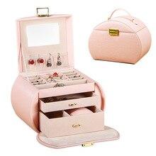 Автоматическая кожаная шкатулка для ювелирных изделий трехслойная коробка для хранения для женщин серьги кольцо косметический Органайзер шкатулка для украшений