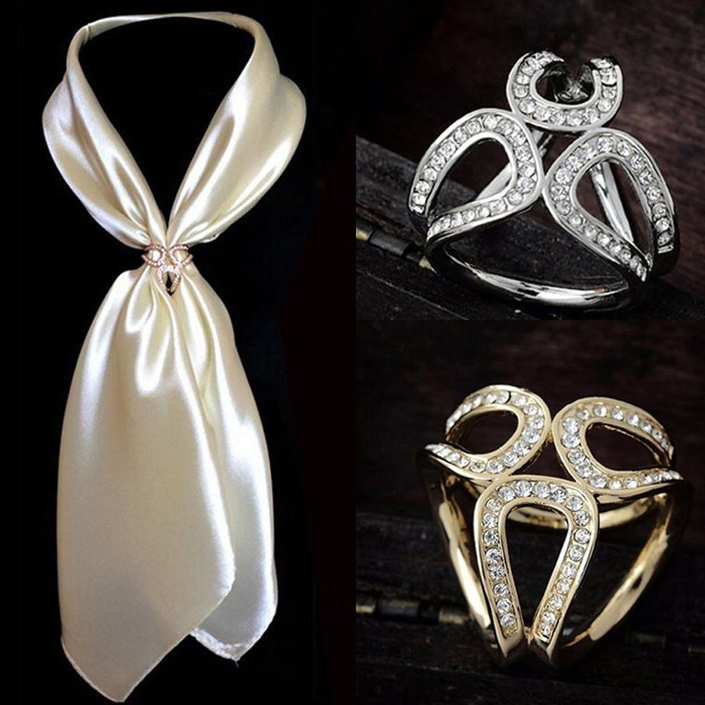 Женские Модные полые Стразы инкрустированные тремя кольцами шарф шаль булавка ювелирные изделия