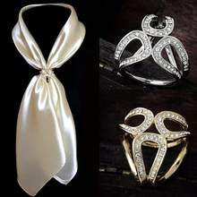 Moda feminina oco strass incrustado três anel cachecol xale pino jóias