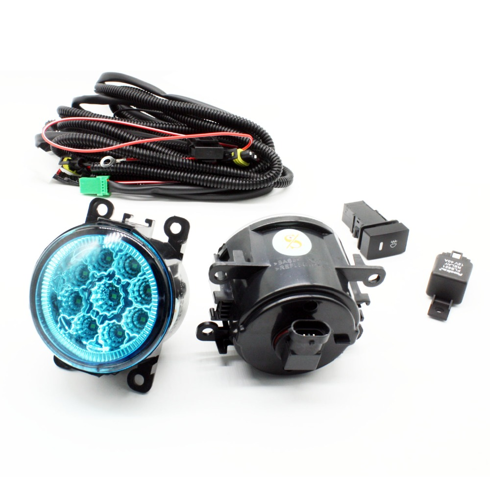 H11 Wiring Harness Sockets Wire Connector Switch + 2 Fog Lights DRL Front Bumper LED Lamp Blue Lens For Nissan Sentra 2007-2012 set wiring harness sockets wire switch for h11 fog light lamp for ford focus 2008 2014 acura tsx rdx for nissan cube for suzuki
