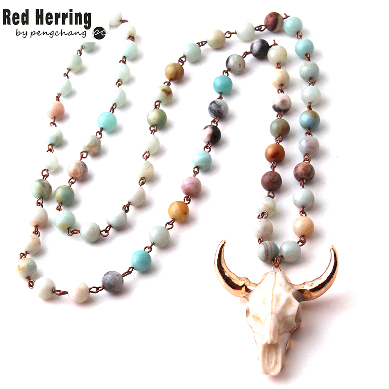 Free Shipping Amazonite Stones statement necklaces Bohemian Tribal Jewelry Horn Pendant Necklace