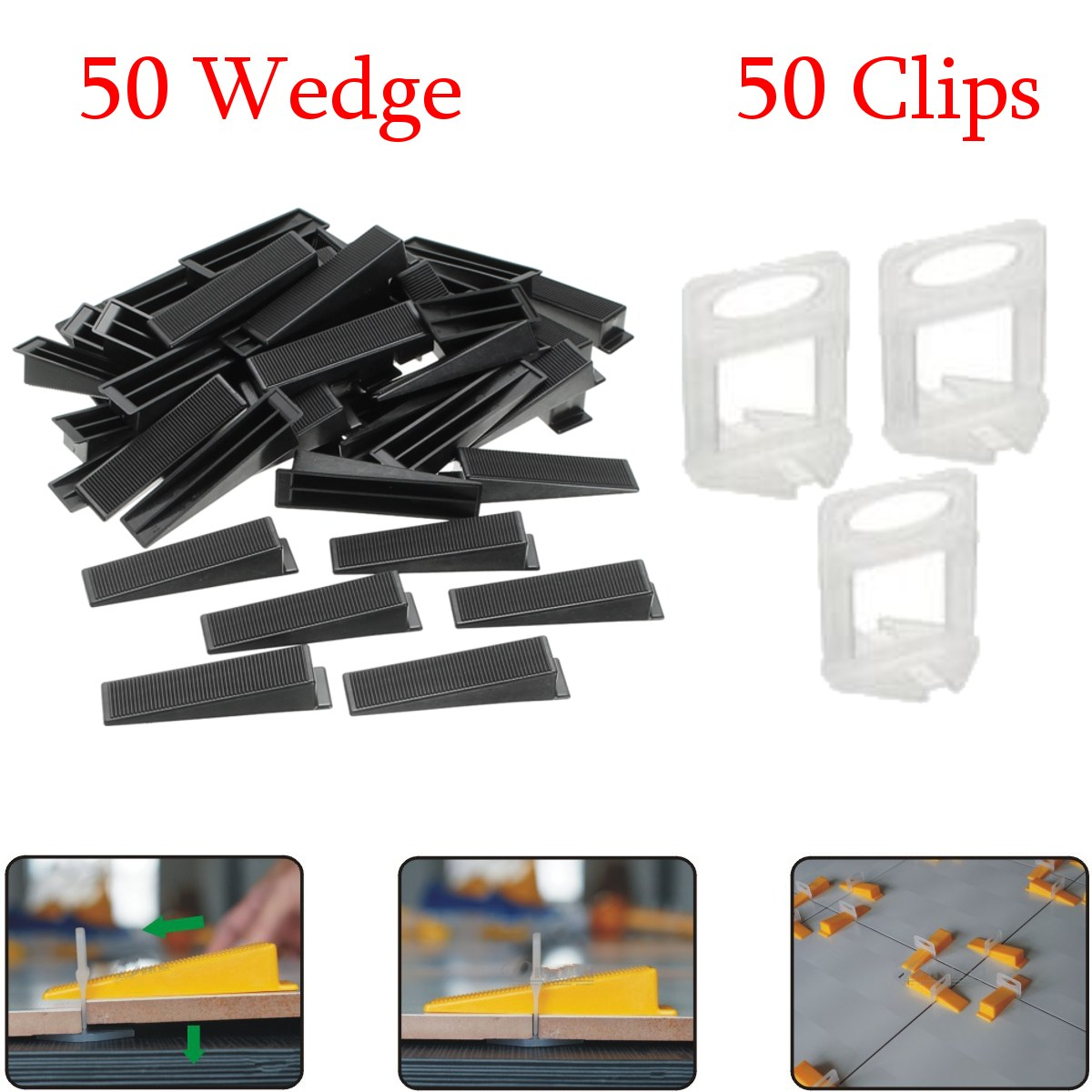 Pack Pro Tile Flat Leveling System Wall Floor Balance Wedge Device 50Pcs