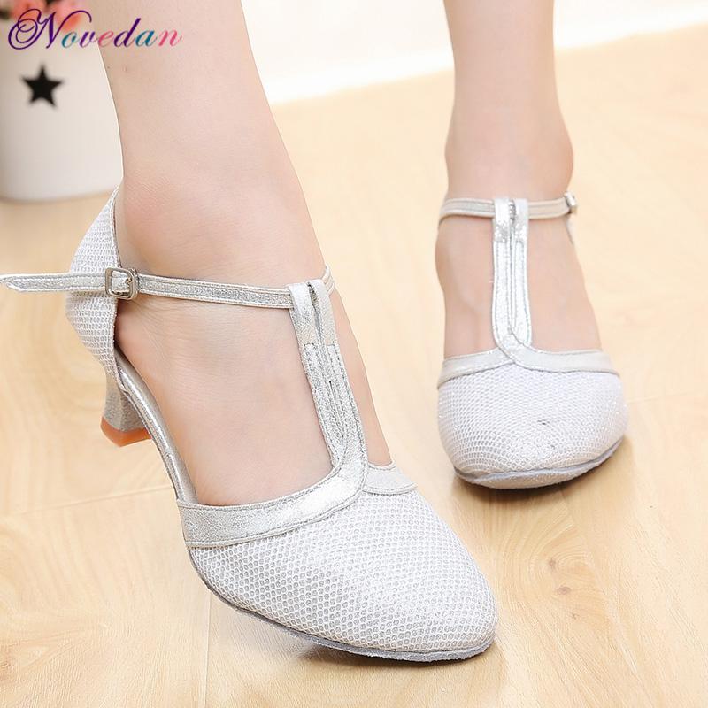 New Women Ladies Ballroom Party Modern Dance Shoes Closed Toe Waltz Tango Latin Salsa Dancing Shoes Heels 5cm/7cm