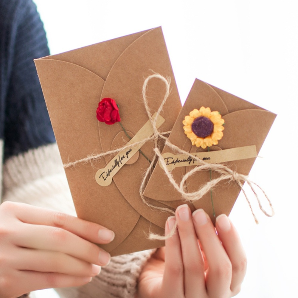 1pcs Valentine's Day Kraft Paper Artificial Flower Greeting Card Small Orange Daisy Wedding Party Event Party Cards Invitations
