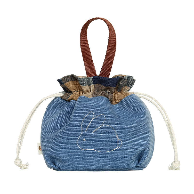 Female handbag female casual drawstring bag canvas bag girl mobile phone storage bag