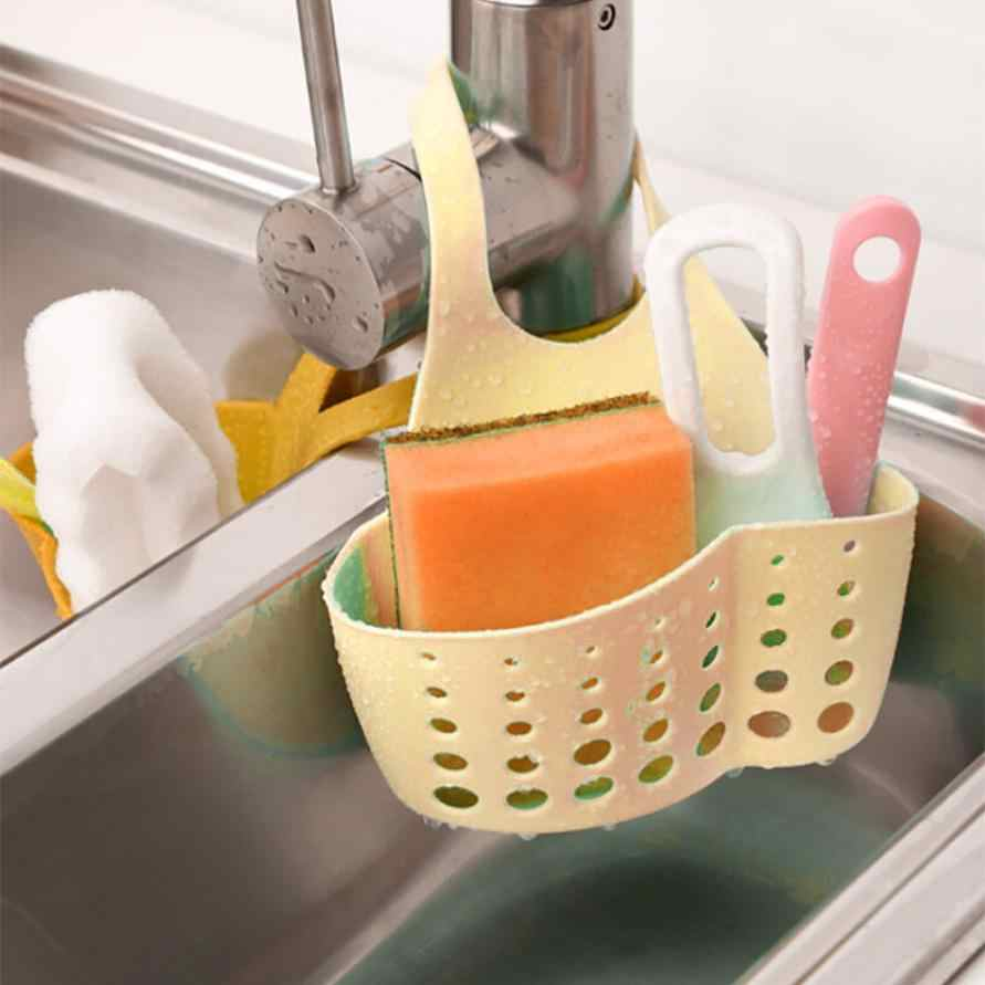 Portable Bath Kitchen Drain Basket Bath Storage Holder Sponge Sink Draining Towel Rrack Hanging on The Tap with Press Button