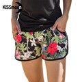 KISSyuer flores Rojas de secado rápido cortocircuitos de la marca para las mujeres Negro amantes de la playa Pareja de Mujeres Shorts Junta KBS1016