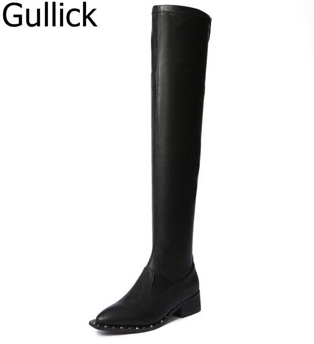 Hottest Selling Women Solid Black Flock Patent Over The Knee Slip On Long Boots Winter Round Toe Low Square Heel Sexy Booties ravrry square heel solid knee high flock