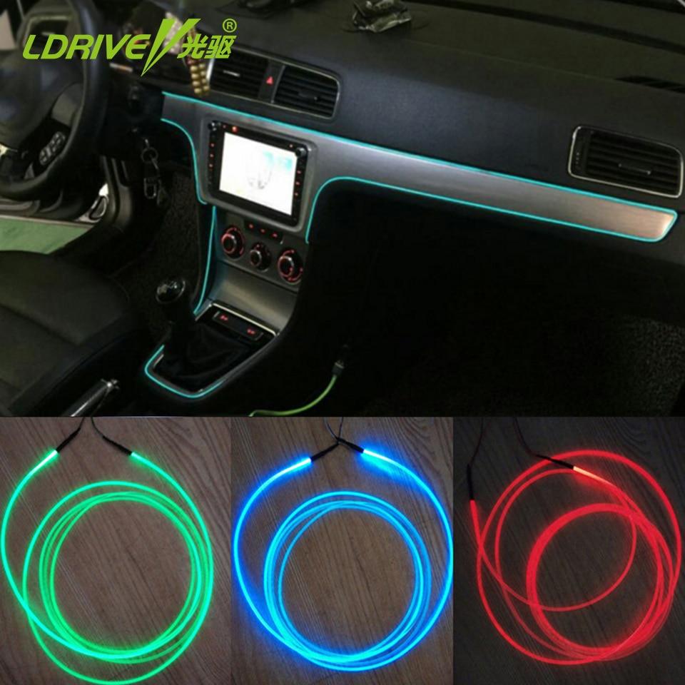 New 5pcs Lot Auto Soft Diy Decorative Interior Lights Refit Optic Fiber Car Atmosphere Lights