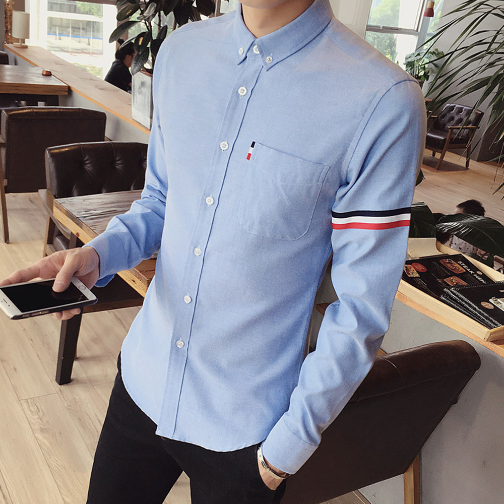 2017 New autumn men's casual tops brand shirt striped Strip decorate cotton men fashion solid color long sleeved Shirts M-XXXL 60