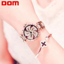 DOM Women Watch Creative Rotation Flower Dial Luxury Diamond Rose Gold Clock Waterproof Steel Ladies Quartz Watch  G-1258GK-9MF dom women watches dom brand luxury new casual waterproof leather dress quartz watch mesh strap clock relogio faminino g 36gk 1ms