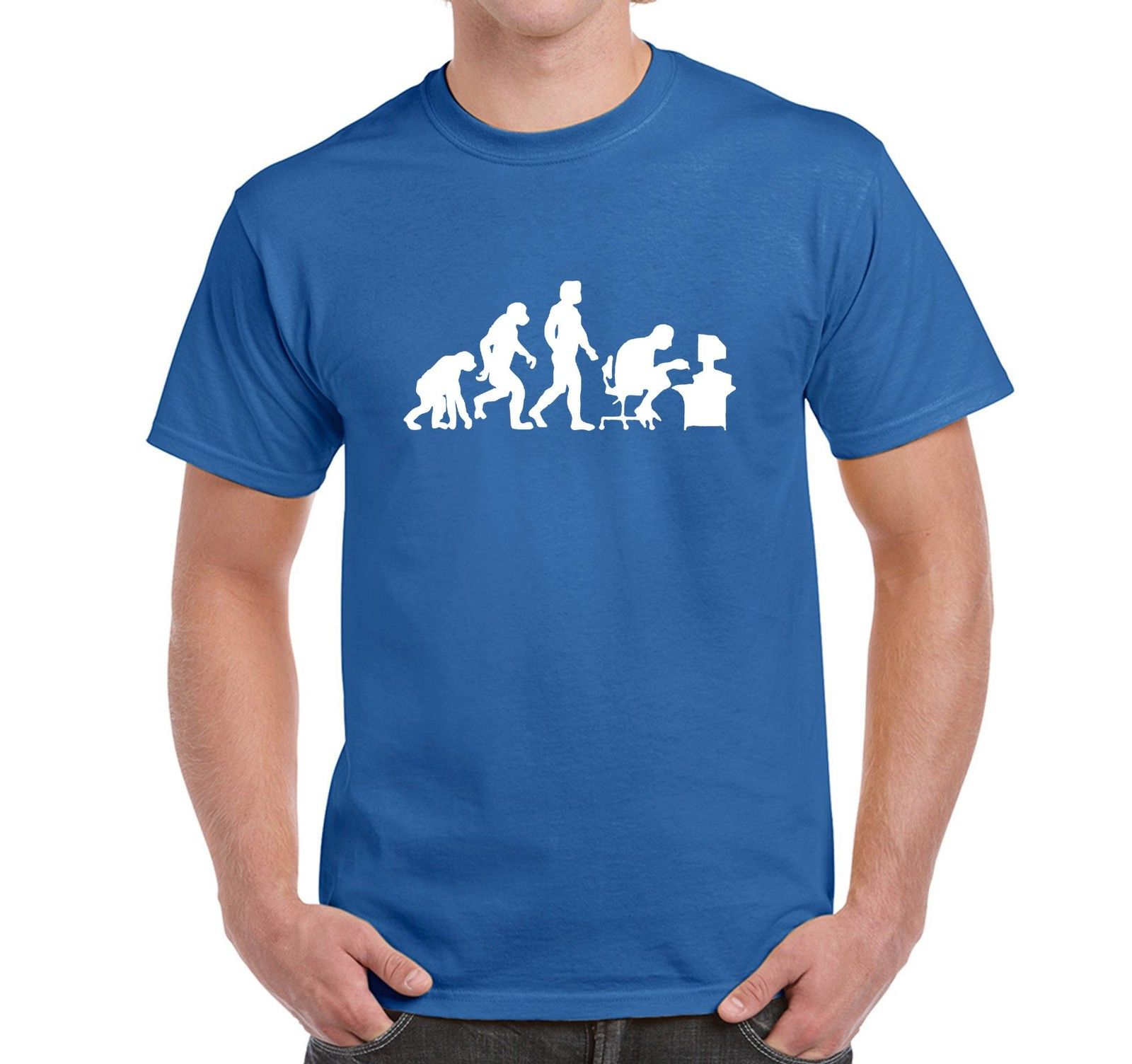 Mens Novelty T Shirt Evolution of A Computer Geek Pc Gamer Tees Brand Clothing Funny T-Shirt Top Tee Fashion The New