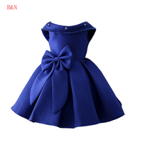 B N Children Pearl Princess Dresses Fancy Back V Girls Dress For Party And Wedding Girls