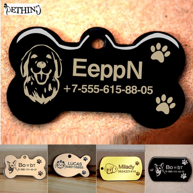 US $5 33 |Free engraved write QR name phone number pet dog cat ID tag  collar pet tag dog pet name pendent neckce tag engraved military tag-in ID  Tags