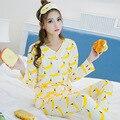 Primavera Outono Imprimir Character Banana Conjuntos Pijamas de Manga Longa das Mulheres Quentes Senhoras Sleepwear Roupas Casa