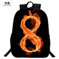 SHUNAN Brand Oxford 2016 Hot 16 Inch Printing Hawkeye Flame Number 8 Kids Bookbag Children School Bags for Teenage Boys Backpack