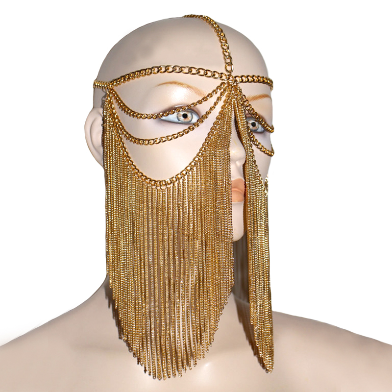 Fashion Style HE12 Women Silver Chains Mask Chains Head Chains Head Jewelry