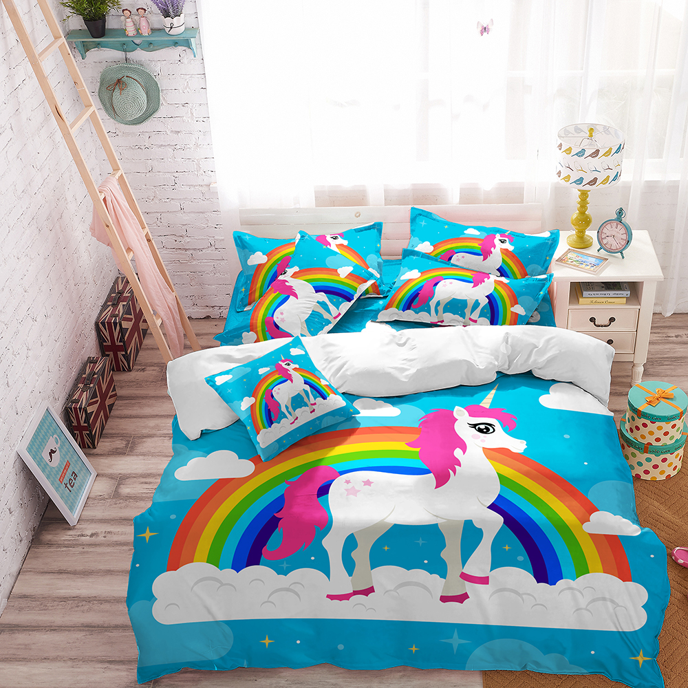 Unicorn Bedding Set Multicolor Cute Cartoon Duvet Cover for Kids Pillowcase Soft Comfortable Outlet Drop Shipping