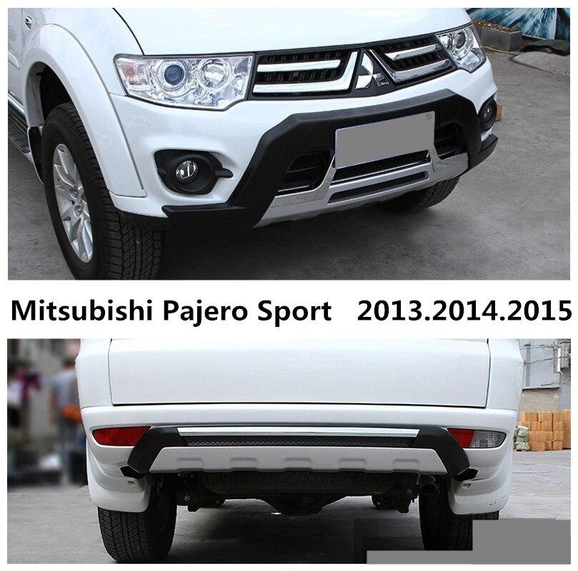 Car BUMPER GUARD For Mitsubishi Pajero Sport 2013.2014.2015 BUMPER Plate High Quality ABS Front+Rear Auto Accessories Mitsubishi Pajero