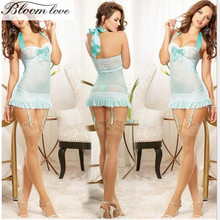 E557 Halter Sex Costume Lingerie Nightwear For Women Slim Blue Blended Cotton Night Skirt Sexy Babydoll Lingerie