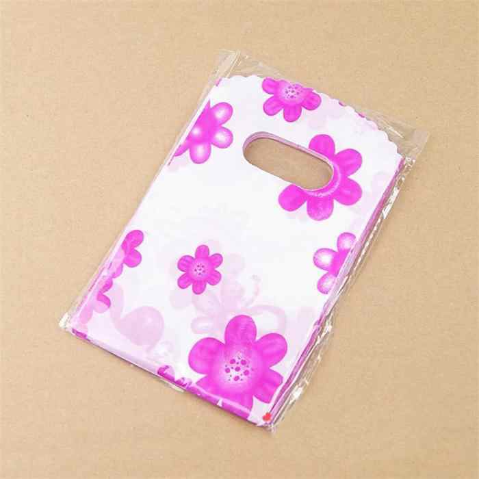 100pcs/Lot 14X9CM Plastic Packaging Bags With Handle Small Gift Bags