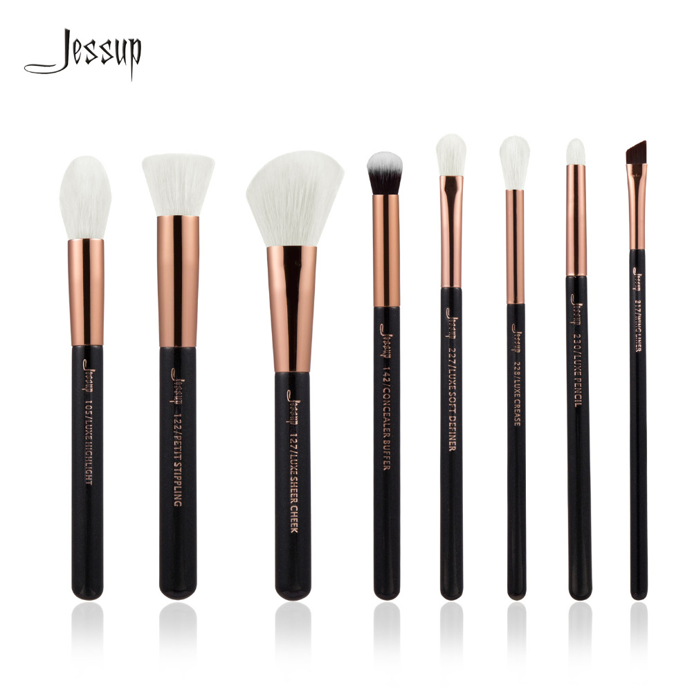 Jessup Brand Rose Gold/Black Professional Makeup Brushes Set Make up Brush Tools kit Foundation Stippling natural-synthetic hair