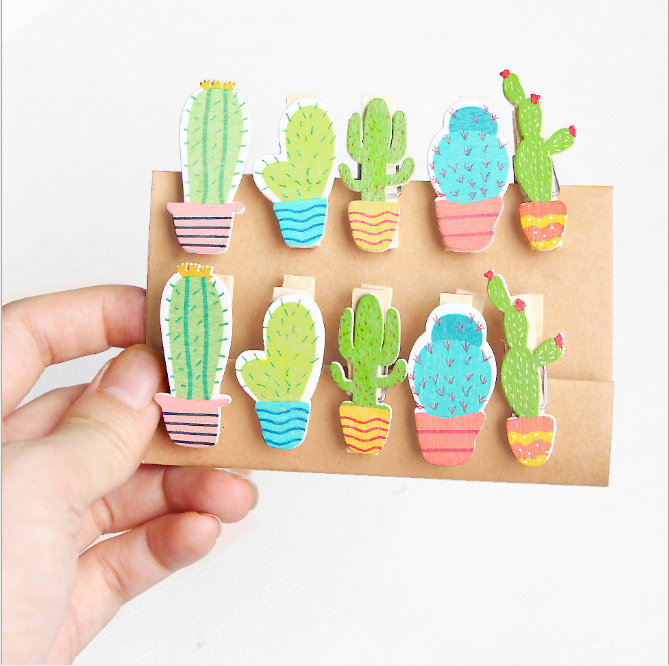 10 Pcs/ 1lot Cute Cartoon Rabbit Cat Plant Wood Clip Set / Cute Wooden Paper Clips / Small Craft Photo Pegs Kawaii Stationery