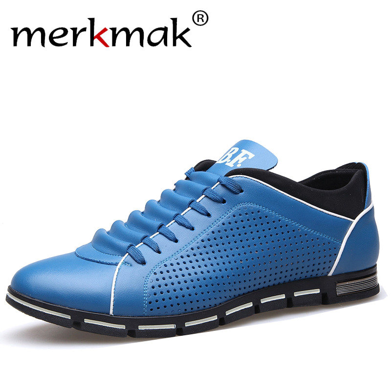 Merkmak New Mens Summer Casual Shoes Breathable Holes Leather Shoes Luxury Brand Men Leisure Treandy Flats Shoes 2018 Hot Sale new 2017 summer brand casual men shoes mens flats luxury genuine leather shoes man breathing holes oxford big size leisure shoes