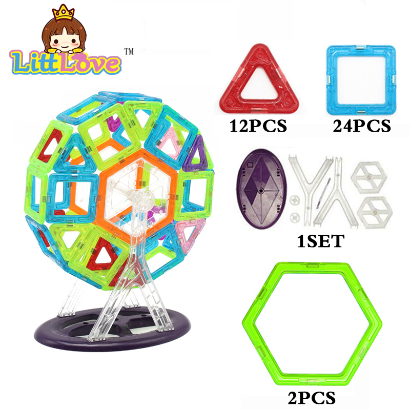 46 PCs Ferris wheel Magnetic Designer Toy Square Triangle DIY Enlighten Educational Building Blocks Bricks Toys for Children mantra mara antique brass 1628