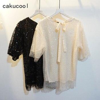 Cakucool Hot Sparkle Sequins футболки с коротким рукавом милые блестящие летние футболки сетчатые тонкие с круглым вырезом кружевные базовые футболка с...
