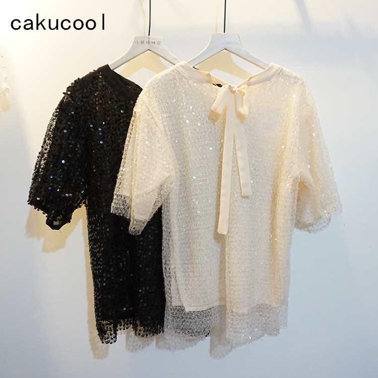 Cakucool Hot Sparkle Sequins Short Sleeve Tees Sweet Cute Shiny Summer T shirt Mesh Slim O neck Lace Basic Tee Top Shirt Lady
