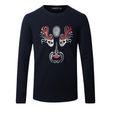 In the winter of 2016 new style men's wear thick Men sweater collar sweater Peking Opera embroidery sweater