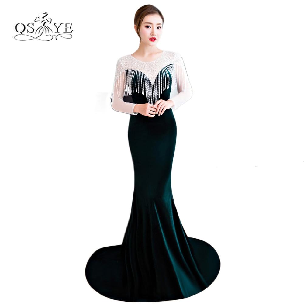 Dark Green Velvet Long Mermaid Prom Dresses with Beading Elegant ...