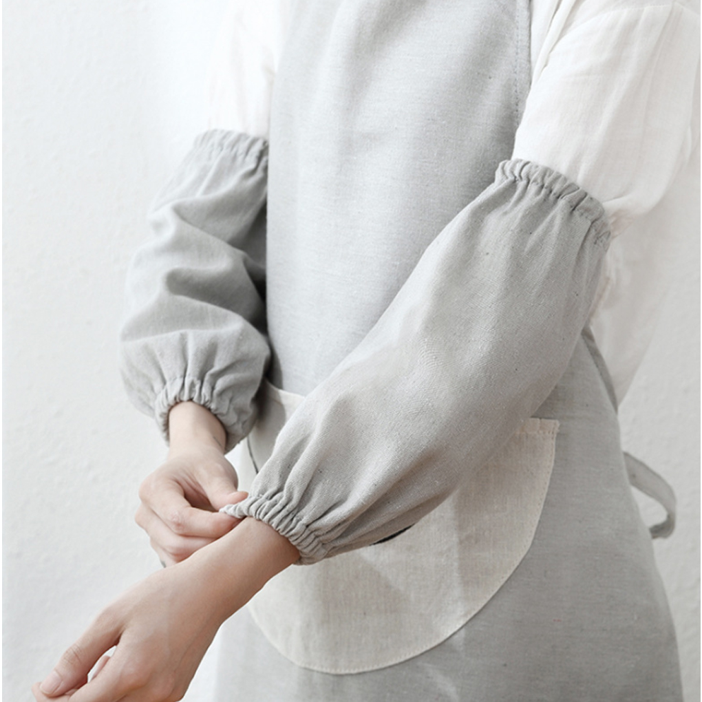 1 Pair Stylish Cotton And Linen Oversleeve Antifouling Long Arm Cover Cooking Working Household Kitchen Cuff Sleeves