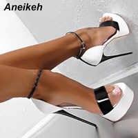Aneikeh grande chaussure taille 41 42 43 44 45 46 16 CM talons hauts sandales été Sexy bout ouvert robe de soirée plate-forme gladiateur femmes chaussures