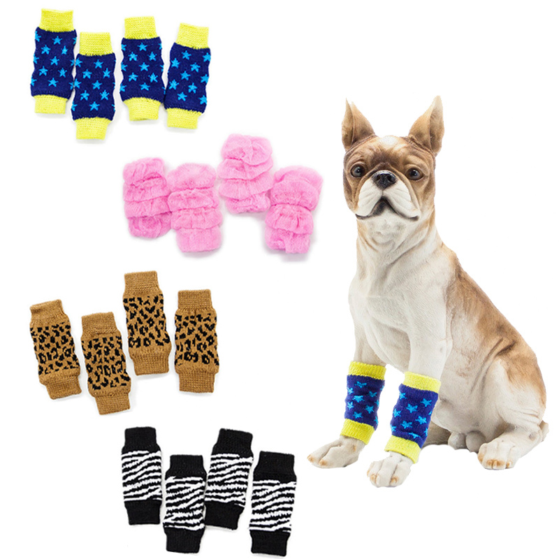 Pet Dog Socks Soft Breathable Dog Kneepad Wrist Guard Support Joint Protector Winter Warm Feet Leg Cover Fashion Pet Supplies