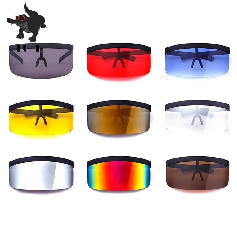 FU E Vintage Extra Oversize Shield Visor Sunglasses Women Flat Top Mask Mirrored Shades Men Windproof Eyewear Gafas de sol