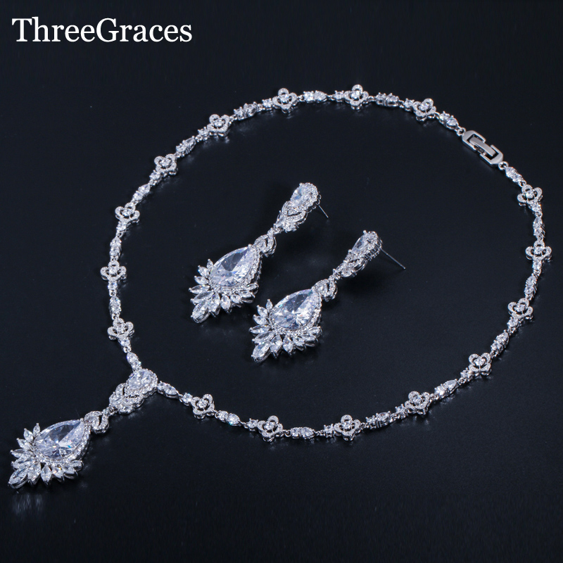 ThreeGraces Luxurious Big Water Drop Wedding Bouquet Accessories Marquise CZ Zircon Stone Bridal Jewelry Sets For Brides JS275
