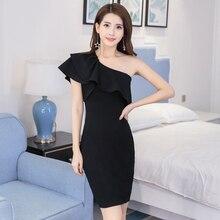 Women dress Ruffles Slim Sexy Socialite Little Sweet Wind Inclined Shoulder Gown Dresses Black 2046
