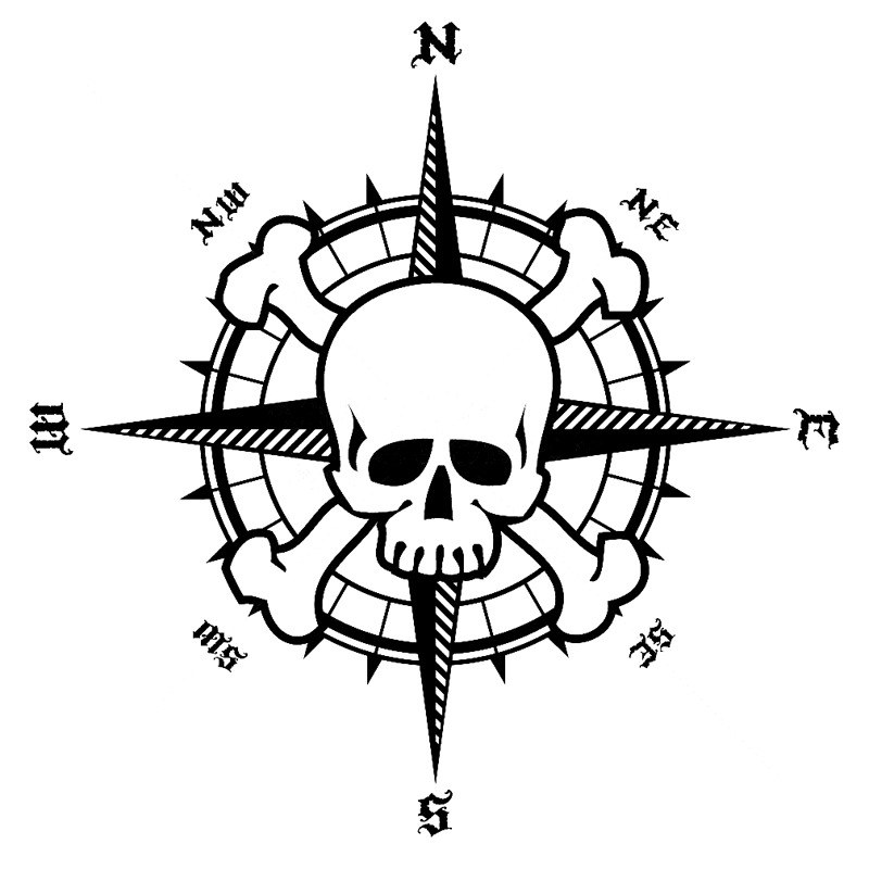 Pirate Compass Rose Sketch Coloring Page