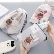 Cartoon Bear Transparent Travel Cosmetic Bag Make Up Case Women Waterproof Makeup Beauty Wash Organizer Toiletry Storage Kit Box